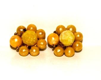 Vintage Yellow Flower Earrings