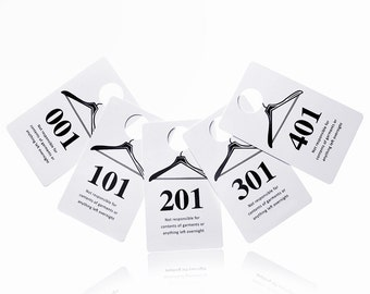 100 Plastic Number Tags, Reusable Coat Room Check Hanger Claim Tickets, 1 Set of 100 Consecutive Numbers, Choose from 001-500