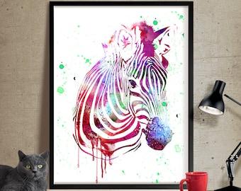Abstract, Zebra watercolor print, Zebra poster, Animal watercolor, Nursery art, digital watercolor print, FineArtCenter (15)