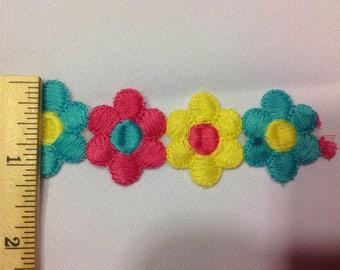 Embroidered flower trim