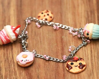 Supercute Kawaii Charm Bracelet - miniature food jewelry - kawaii jewelry - kawaii - kawaii bracelet - food bracelet