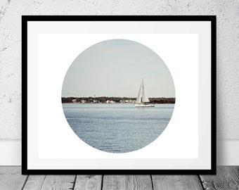 Printable Photograph, Sailboat Photo, Coastal Art, Digital Download, Beach Photography, Ocean, Sailing