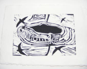 Swifts over the Hillfort, lino print