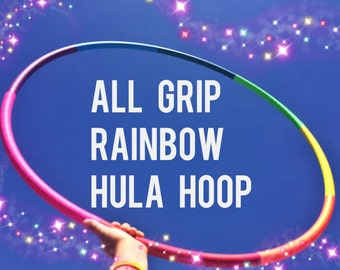Rainbow Grip Dance & Exercise Hula Hoop COLLAPSIBLE Polypro, HDPE, beginner, advanced, or weighted - chakra colorful neon fitness