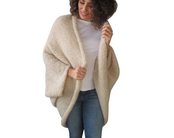 Cream Wool Plus Size Oversize Overcoat Poncho Cardigan