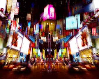 Color cityscape photography print - ' Night Trip 2 '