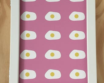 "Egg on pink art print 8x11"" limited edition"