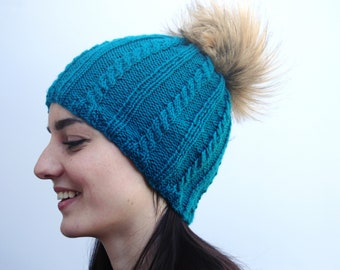 Cabled Hat, Cabled Toque, Cabled Hat with Pom Pom, Hat with Pom Pom, Toque with Pom Pom, Cabled Toque with Pom Pom, Winter Hat with Pom Pom