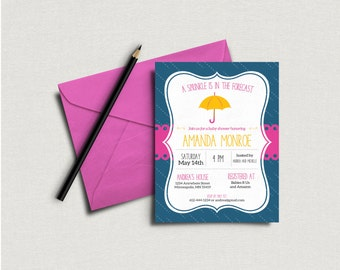 A Sprinkle Is in the Forecast. Umbrella Baby Shower Invitation. Sprinkle Baby Shower. Pink Ribbon. Personalized - Digital / Printable File
