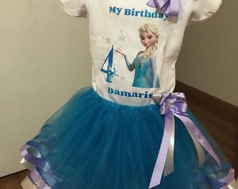 Frozen Birthday Outfit Ribbon Trimmed Tutu