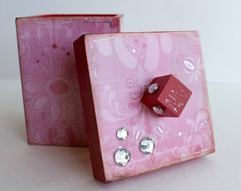 Cube Box, Altered Box, Jewelry Box, Stash Box, Red and Pink Box, Floral Box