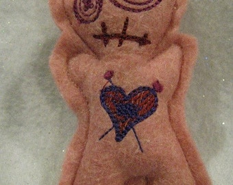 Voodoo Doll Pin Cushion or Pocket Pal - Vlalentines Pink with Marron and Purple