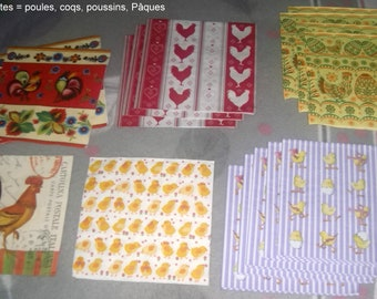 LOT 15 napkins = hens, roosters, chicks, Easter