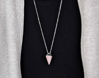 Rose Quartz Crystal Necklace Crystal Necklace Healing Quartz Long Necklace Boho  Minimalist Necklace Layering Chain