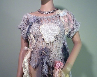 ROMANTIC BOHEMIAN BLOUSE - Wearable Fiber Art, Versatile & Trendy, Luxurious Italian Yarns, Richly Boho Tattered And Embellished