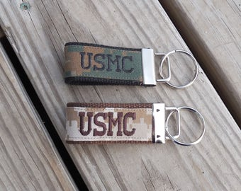 Made to Order Branch Embroidered Mini Key Fob USMC USAF USCG Navy Army
