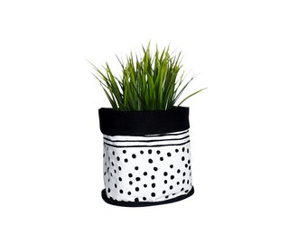 Soft Pot Fabric Bucket, Geometric pattern,  Black and white, Storage bucket, Lines and dots pattern,  Soft Pot Fabric Bucket