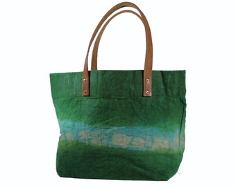 Large Waxed Canvas - Green/Turquoise - Leather handles