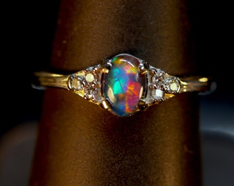 Opal & Diamond Ring Wedding set.14K, or 10K Solid Gold, or S.S.Top Gem Grade Solid White opal or Opal Triplet.Optional matching Wedding Band
