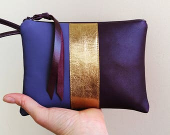 Two-toned utraviolet and gold striped leather wristlet clutch bag / limited edition