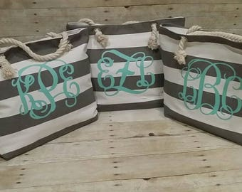 Set of 8 Monogrammed Beach Totes,  Grey and Mint Tote, Grey Beach Bag, Bridesmaid Gifts, Bridal Party Gifts, Striped Tote, Beach Bag