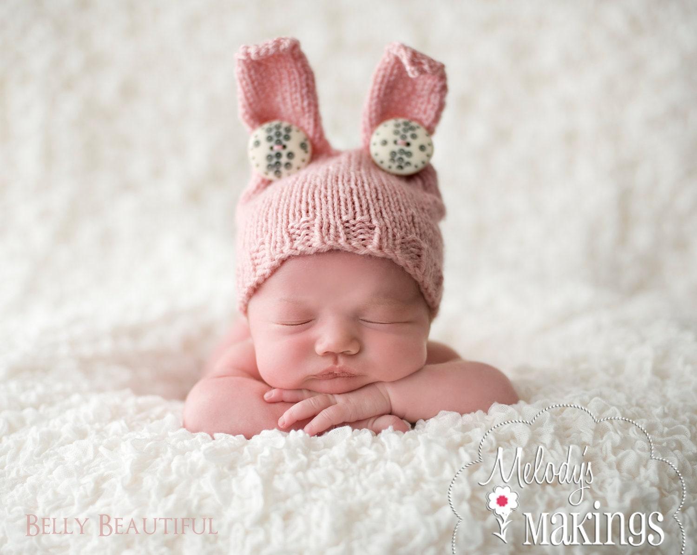 Baby Bunny Hat Knitting Pattern 6 Sizes PDF Sale Instant