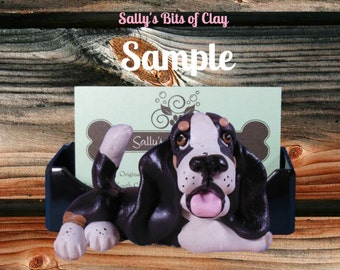 Black Tri Colored Basset Hound dog Business Card / Cell Phone / Iphone Holder OOAK by Sally's Bits of Clay