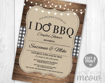 I Do BBQ Invitation Couples Shower Printable Invite Engagement Party INSTANT Download Lights Check Gingham Personalize Editable Printable