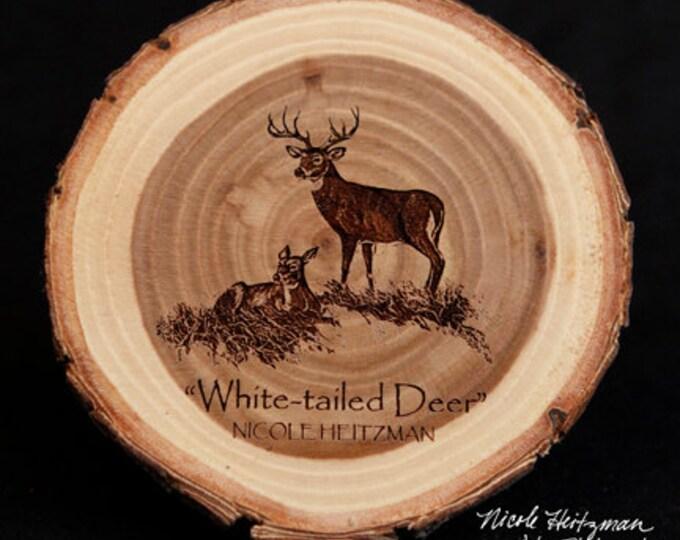 Father's Day Gift for men Deer Coaster Deer Art Man Cave Decor Wildlife Decor Cabin Decor Lodge Decor White-tailed Deer Art Wood Coaster