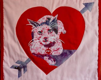 Handmade pieced quilt wallhanging- Valentine Kitty