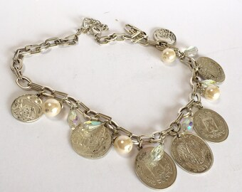 Coin Necklace Pearl Crystal Accent Silver Tone-Vintage Silver Coin Necklace