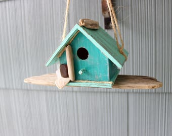 Hanging Beach Birdhouse Hand Painted With Driftwood & Sea Glass One of a Kind Beach House Decor