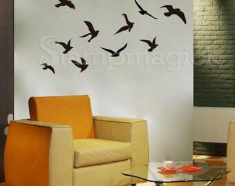 Flying Birds Wall Decal - sea gulls bird vinyl decal art sticker decor graphics - K100
