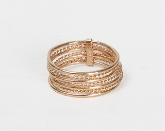 GAIA RING - 7 gold-plated rings stack
