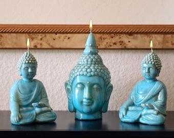 Set of Buddha Candles in Ceramic Finish with Unique Turquoise Glaze