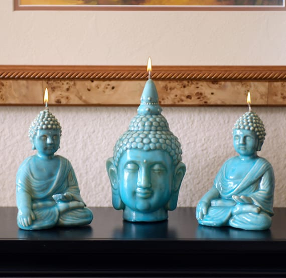 Set of Buddha Candles in Ceramic Finish with Unique Turquoise Glaze
