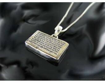 Talisman necklace, 72 names of God, Silver Jerusalem stone necklace with engraved 72 names of God. .