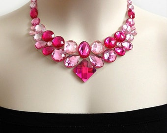 pink bib rhinestone necklace, wedding, bridesmaids, prom necklace, gift or for you