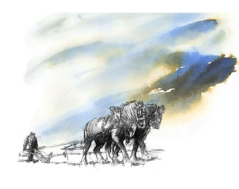 Ploughing on | Limited edition fine art print from original drawing. Free shipping.