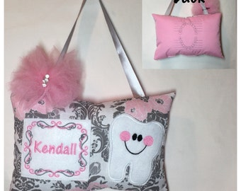 Tooth Fairy Pillow Pink Gray Floral Damask Toothfairy Pillow