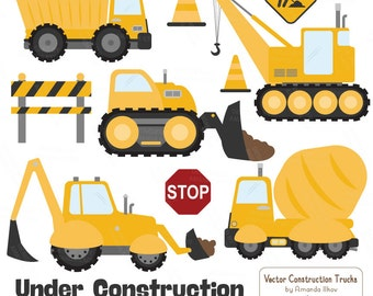 Premium Yellow Construction Clipart - Truck Clipart, Construction Clip Art, Vector Construction Trucks, Construction Equipment, Diggers