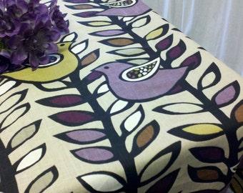 "BIRD TABLE RUNNER - 72"" Birds Linen amethyst purple black cream and chartreuse on tan Linen"