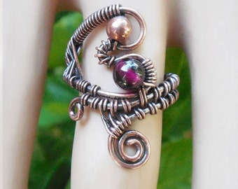 Garnet wire wrap ring, wire wrapped ring size 5, unique garnet ring, unique boho rings, wire wrapped jewelry, unique boho jewelry