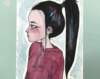 Original Watercolor Painting - Portrait of a Girl with a Ponytail