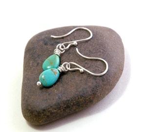 Turquoise Earrings, Sterling Silver Jewelry, Green Turquoise, Small Earrings, Gift, delicate earrings, December Birthstone, Minimalist