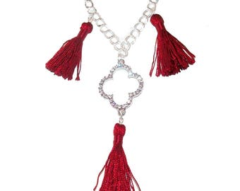 FIOCCA red and silver tassel necklace