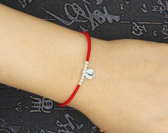 hand woven Fate Eternity red string luck bracelet sterling silver initial  letter & sterling silver Bendel, Kabbalah custom-stamped Jewelry