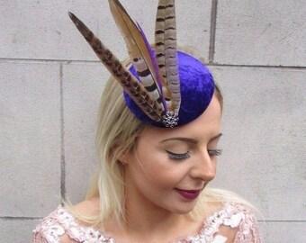 Purple Black Brown Pheasant Feather Pillbox Hat Fascinator Races Velvet Vtg 4609