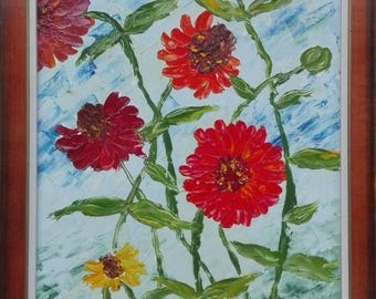 Original oil painting, Zinnia flowers in the wind, streched canvas, flower painting