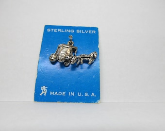 Vintage Sterling Silver Horse and Buggy Charm W #635